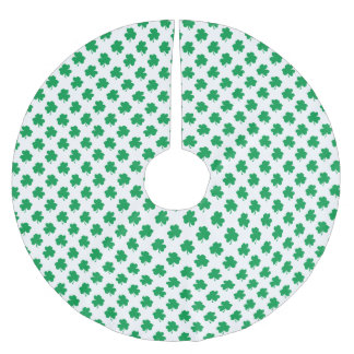 Tréboles verdes en el trébol del día de St Patrick Falda Para El Árbol De Navidad De Poliéster