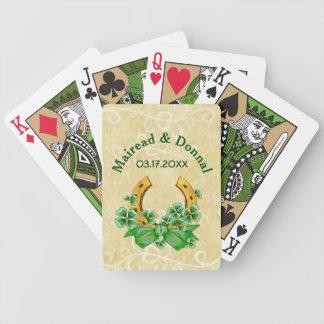 Tréboles y boda irlandés del oro baraja cartas de poker