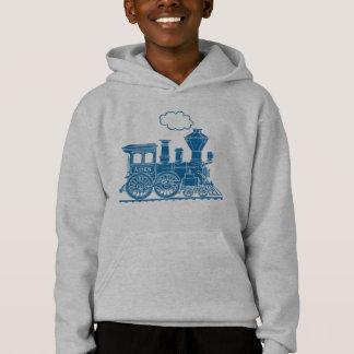 Tren azul de la locomotora de vapor su sudadera
