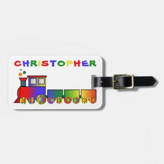Tren colorido personalizado etiqueta para maletas