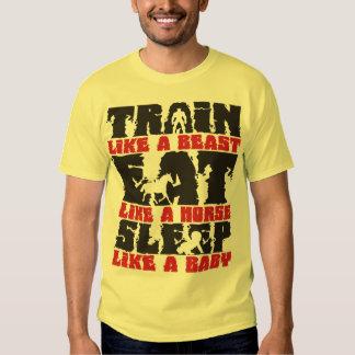 Tren como una bestia - gimnasio y motivación de la camisetas