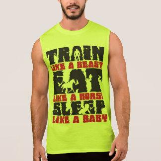 Tren como una bestia - gimnasio y motivación de la playeras sin mangas