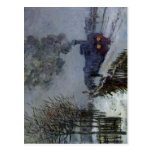 Tren de Claude Monet en el aceite 1875 de la técni Postal