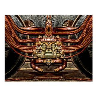 tren de cobre del motor de vapor - ingeniero del postal