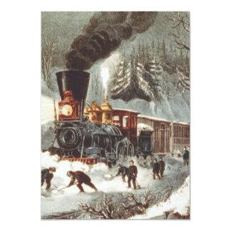Tren de la nieve de la CAMISETA Invitación 12,7 X 17,8 Cm