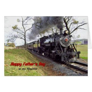 Tren del vapor del día de padre para el sobrino tarjeta de felicitación