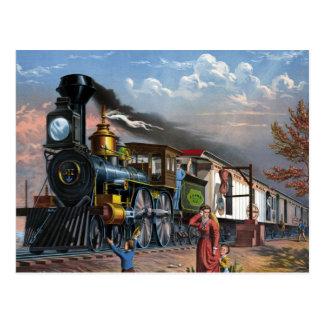 Tren del vapor del vintage en el ejemplo de la postal
