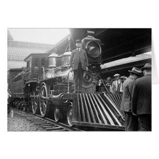 Tren del vapor en Station, 1923 Tarjeta De Felicitación