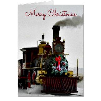 Tren del vintage con la tarjeta de felicitación de