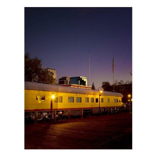 Tren pacífico de la unión en Sacramento vieja Tarjeta Postal