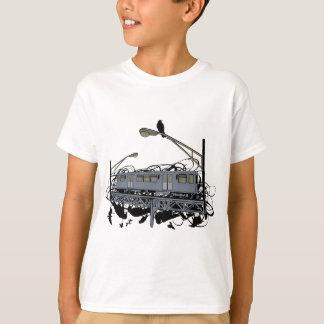 Tren y cuervos ilustrados artísticos urbanos camisetas