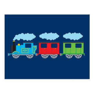 Tren y dos carros postal