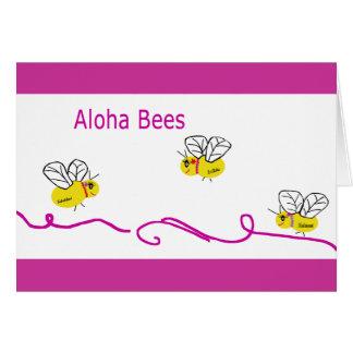 tres abejas de la hawaiana tarjetón