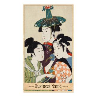 Tres actores jovenes Kitagawa, arte del kabuki de  Tarjetas De Negocios