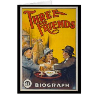 Tres amigos tarjeta de felicitación