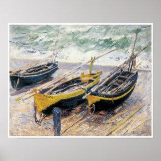Tres barcos de pesca, 1886 póster