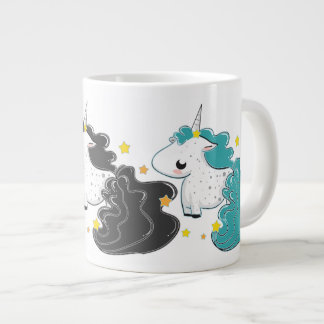 Tres colores de los unicornios del dibujo animado  taza grande