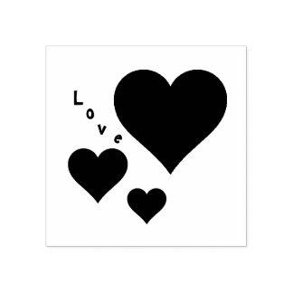 Tres corazones y tarjetas del día de San Valentín Sello De Caucho