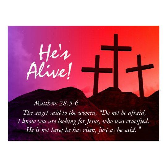 """Tres cruces """"él es"""" postal viva de Pascua"""