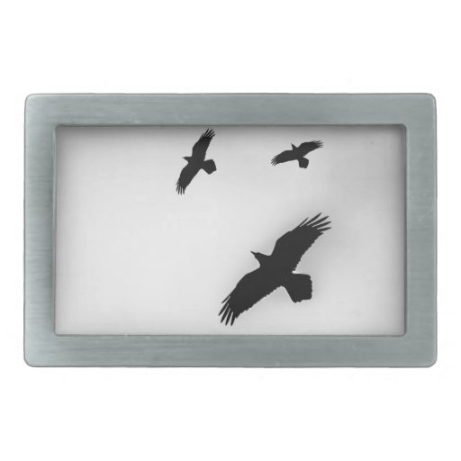 Tres cuervos hebillas cinturón rectangulares
