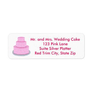 Tres etiquetas de dirección rosadas con gradas del