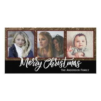 Tres Felices Navidad de la foto Tarjeta