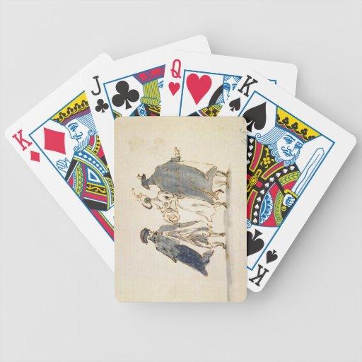 Tres figuras enmascaradas en traje del carnaval (p baraja de cartas