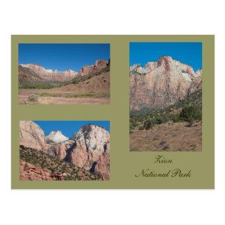 Tres fotos de parque nacional de Zion Postal