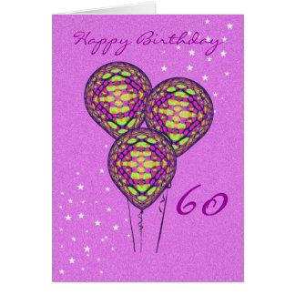 Tres globos púrpuras tarjeta de felicitación
