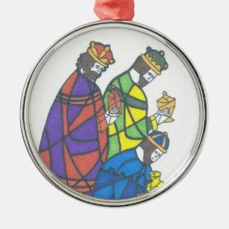 Tres hombres sabios adorno navideño redondo de metal