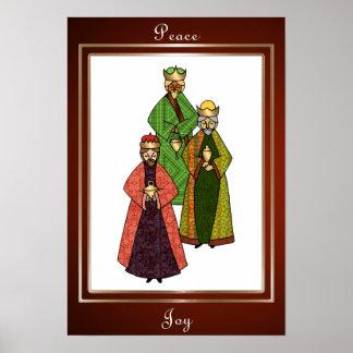 Tres hombres sabios traen paz y alegría póster