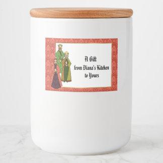 Tres hombres sabios y regalos de comida de su etiqueta para comida