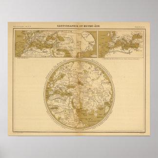 Tres mapas coloreados póster