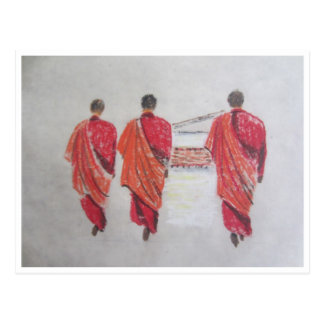 tres monjes tarjeta postal