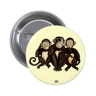Tres monos sabios chapa redonda de 5 cm