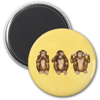 Tres monos sabios imanes para frigoríficos