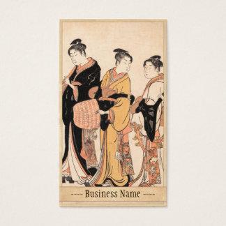 Tres mujeres jovenes que se disfrazan como Komuso Tarjeta De Negocios