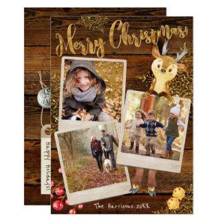 Tres navidad personalizado collage rústico de la invitación 11,4 x 15,8 cm