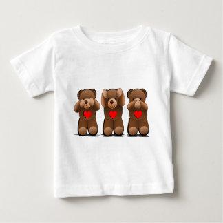 Tres peluches sabios, impresión del oso de peluche camiseta de bebé