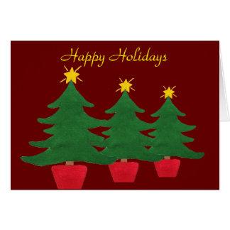 Tres pequeños árboles de navidad - buenas fiestas tarjeta de felicitación
