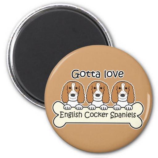 Tres perros de aguas de cocker ingleses imán de frigorífico