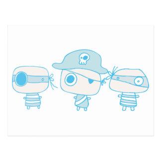 Tres piratas blueprinted postales