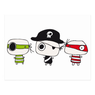 Tres piratas tarjeta postal