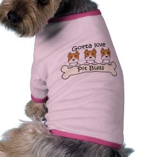 Tres Pitbulls Camisa De Mascota