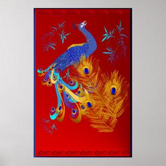 Tres plumas y un poster grande del pavo real