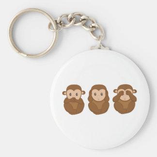 Tres poco monkeye llavero redondo tipo chapa
