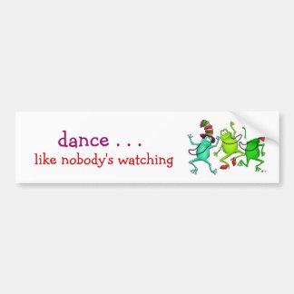 Tres ranas de baile etiqueta de parachoque