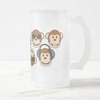 Tres sabios y monos enrrollados tazas