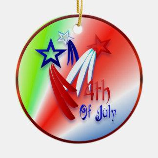 Tres Shooting Stars - 4to ornamento feliz Adorno Navideño Redondo De Cerámica