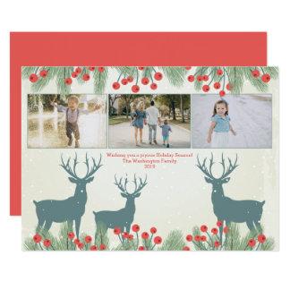 Tres tarjetas de Navidad de la baya y de los
